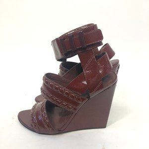Alexander Wang Kasia Oxblood Ankle Strap Wedges